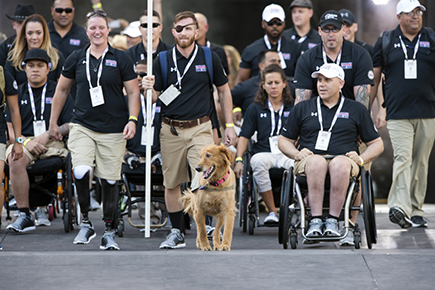 Team Army, last year's Warrior Games medal count winner, enters the opening ceremonies for the 2017 Games at Soldier Field in downtown Chicago, IL.